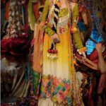 Latest Pakistani Bridal Multi Colored Mehndi Dresses for Girls (4)
