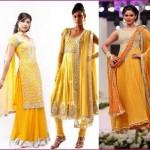 Latest Pakistani Bridal Multi Colored Mehndi Dresses for Girls (2)