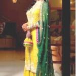 Latest Pakistani Bridal Multi Colored Mehndi Dresses for Girls (1)