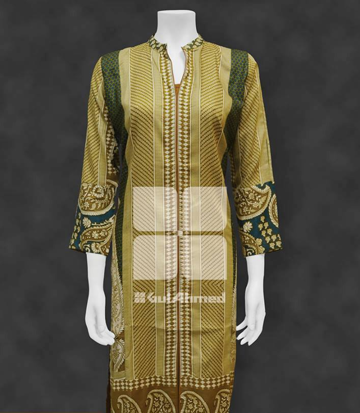 brown colour kurta collection by gul ahmad