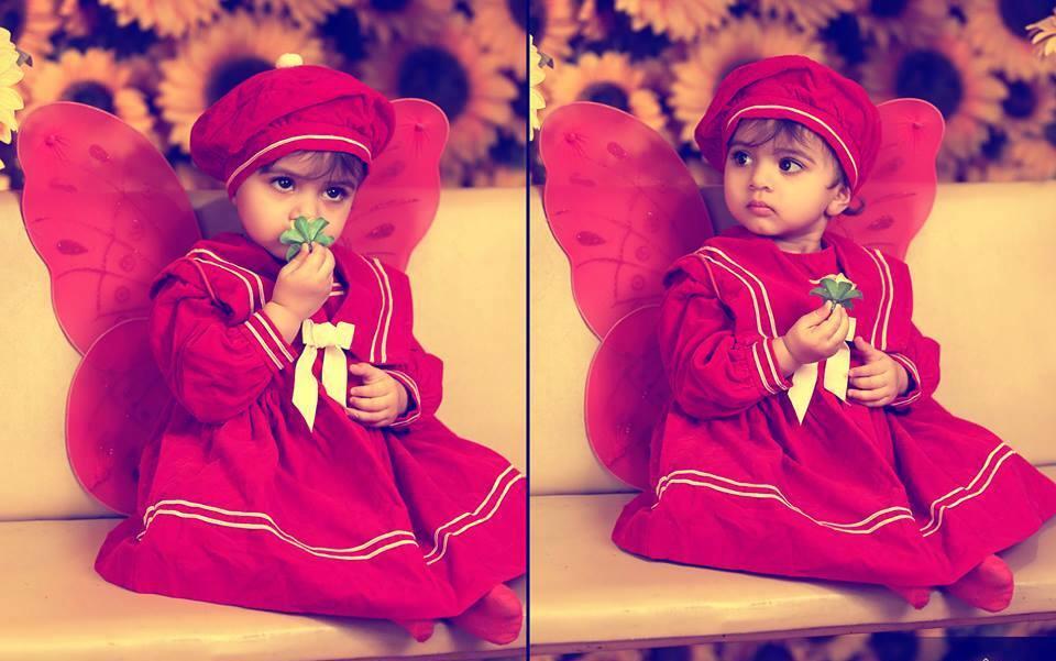 little cute girl in red dress, cute girls HD wallpapers