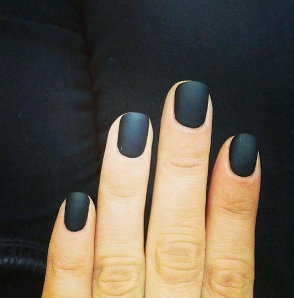 new matte black colour nails