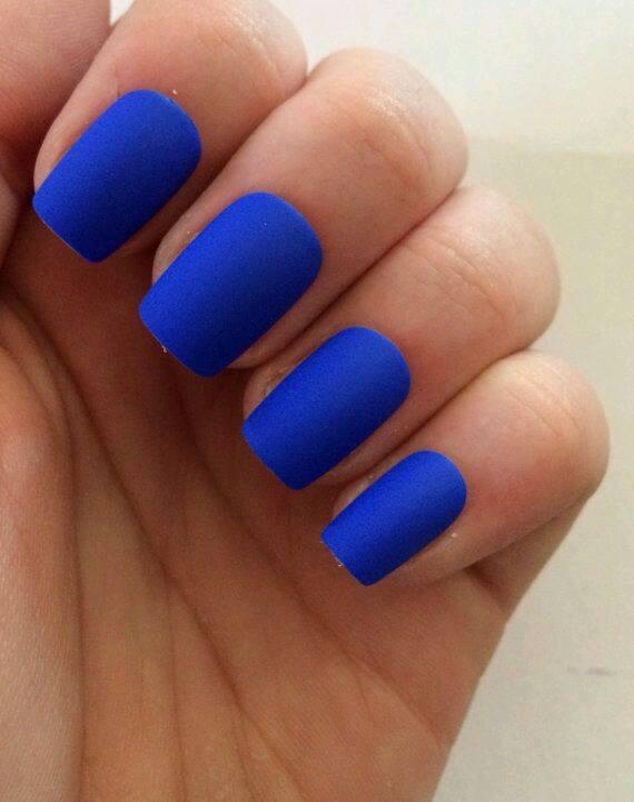 matte nails with blue colours