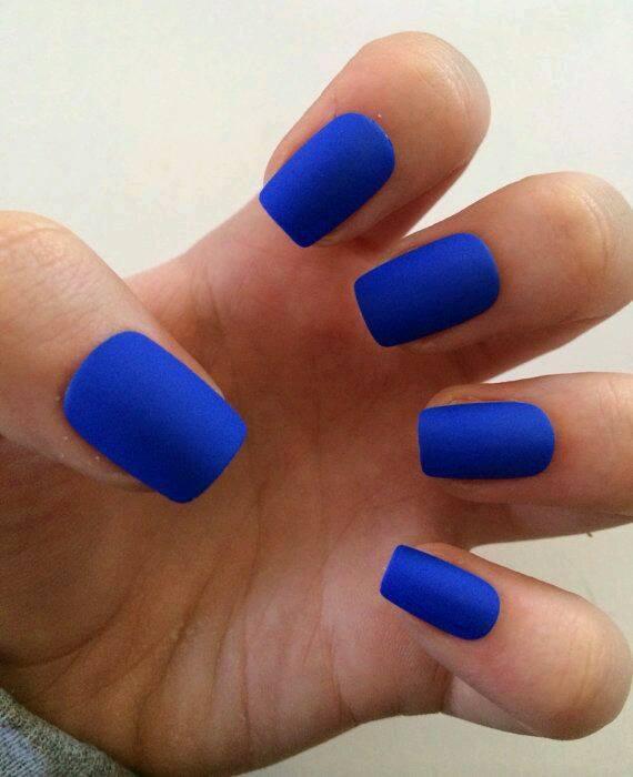 matte brand blue colour nails