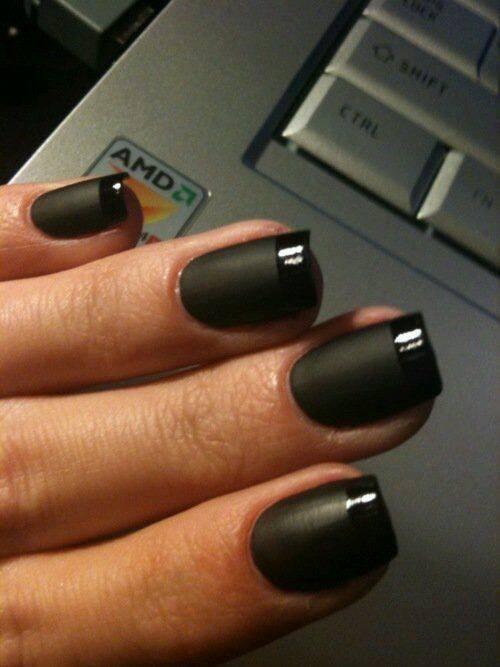 matte black colour nails for girls
