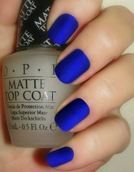 matte blue colour nails art