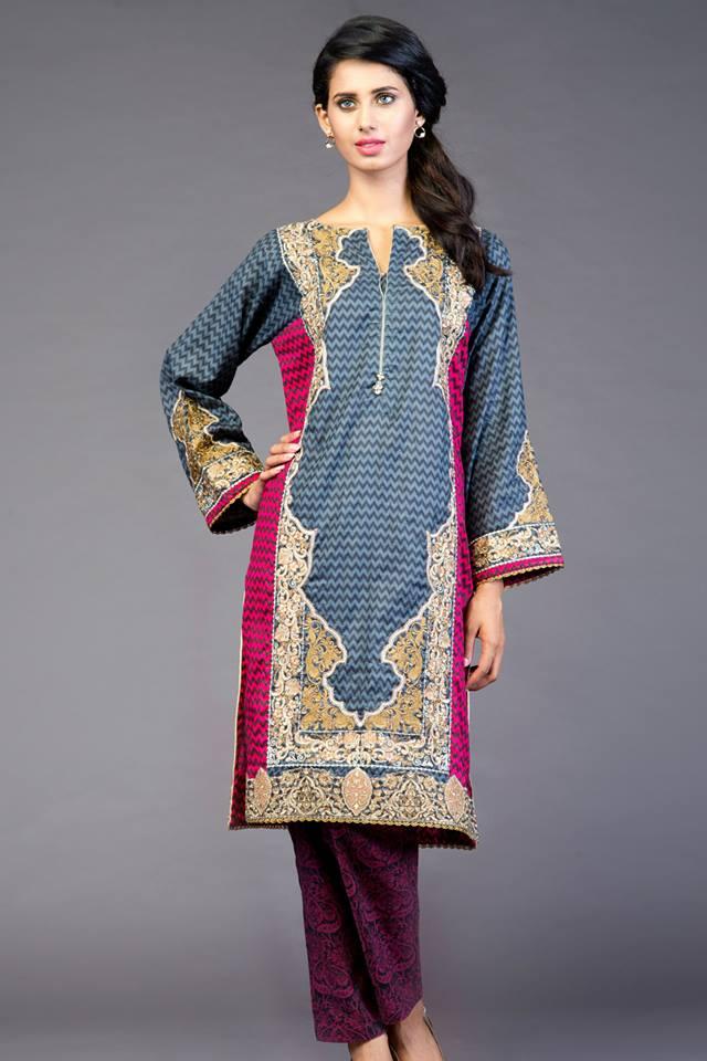 kurta with beautiful designs-funonine.pk