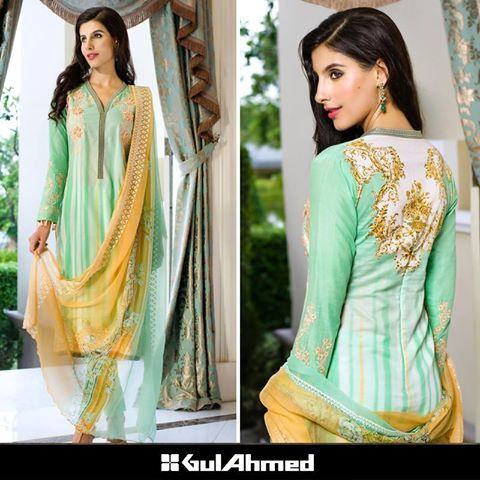 GUl Ahmed pastel green Chantilly de Chiffon dress