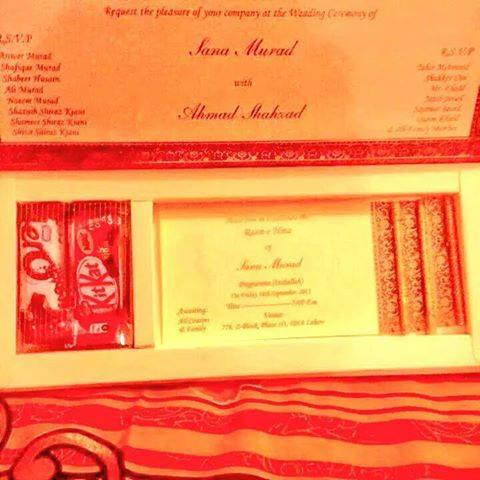 Ahmed Shehzad Marriage Card