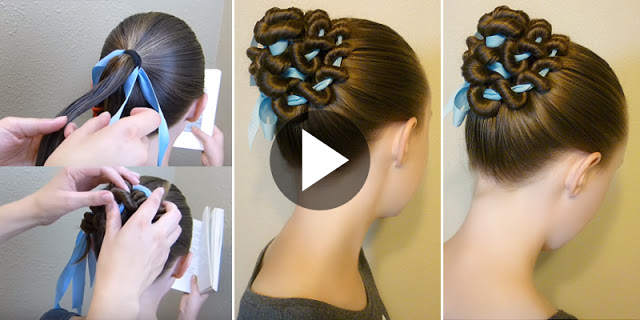 Learn - How To Create Ribbon Coiled Bun Hairstyle-webstudy.pk