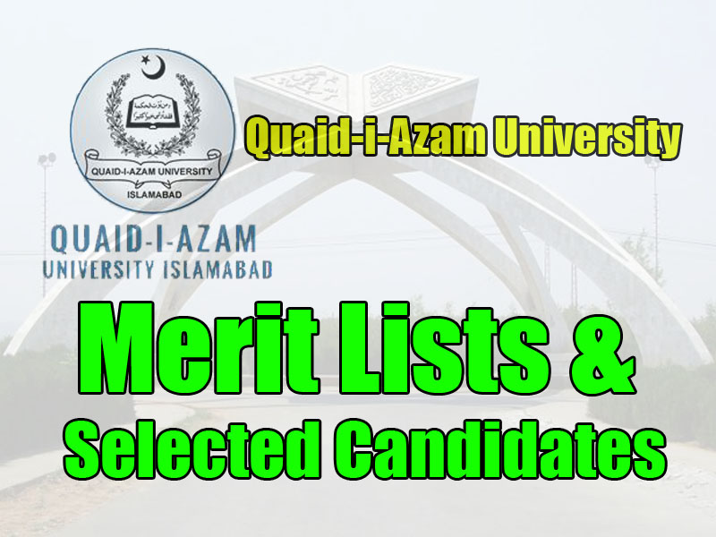 quaid i azam university merit lists 2017