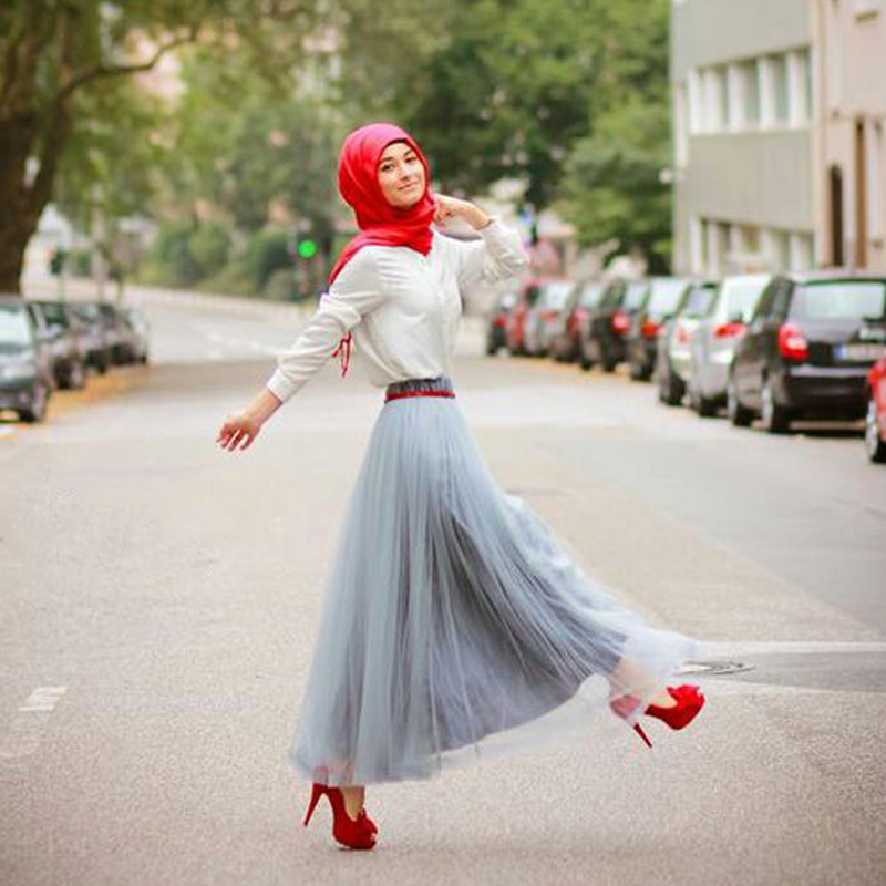 red color hijab designs 2018