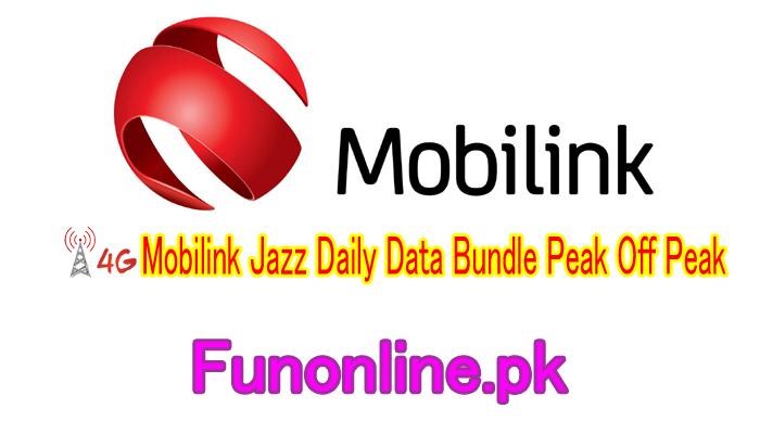 mobilink jazz daily data bundle peak off peak internet package