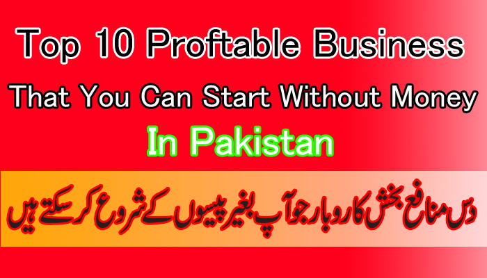top ten profitable business that you can start without money in pakistan