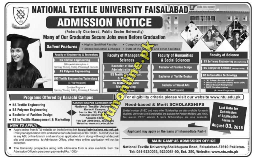 national textile university ntu admission 2018