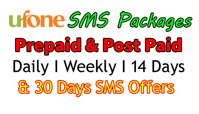 ufone sms package daily, weekly, monthly 14 days