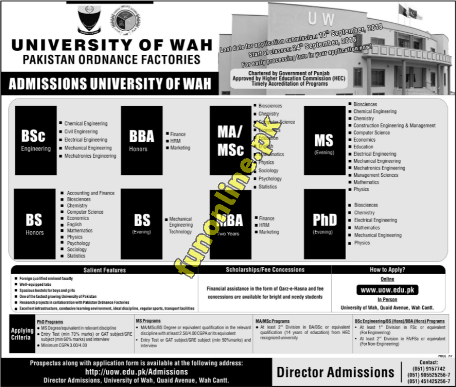 university of wah admission 2018