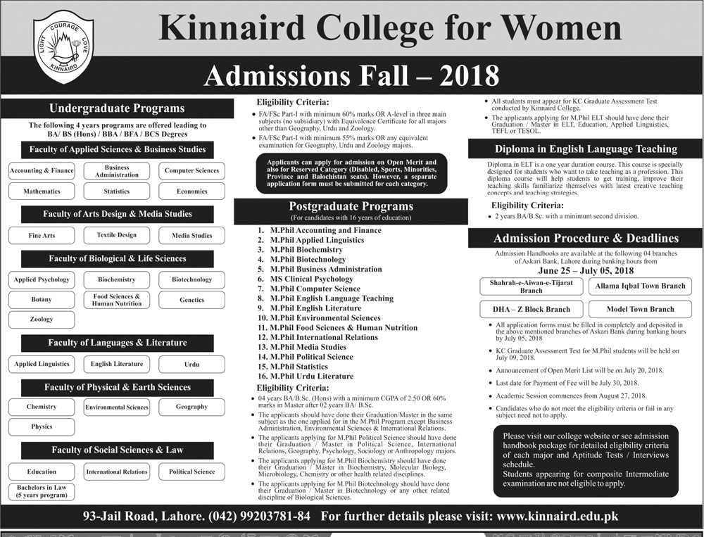 Kinnaird-College-for-Women-admission-2018