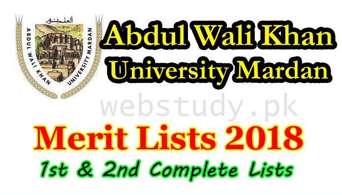 abdul wali khan university mardan merit list 2018