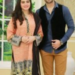aiman khan with husband in morning show satrangi