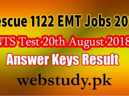 rescue 1122 nts test anwer keys result 20 august 2018