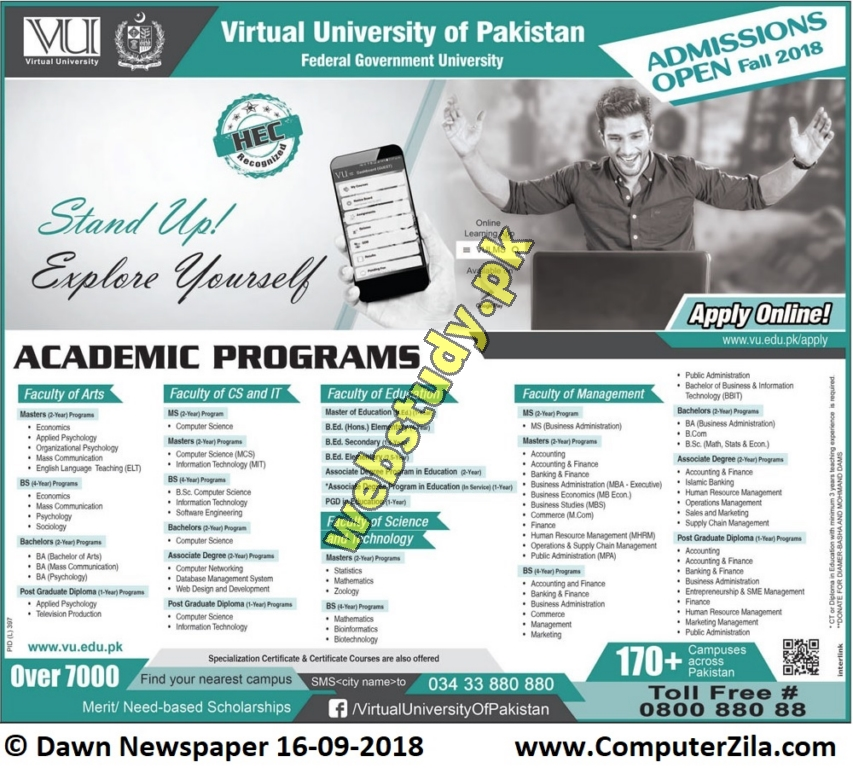 VU admissions fall 2018 advertisement
