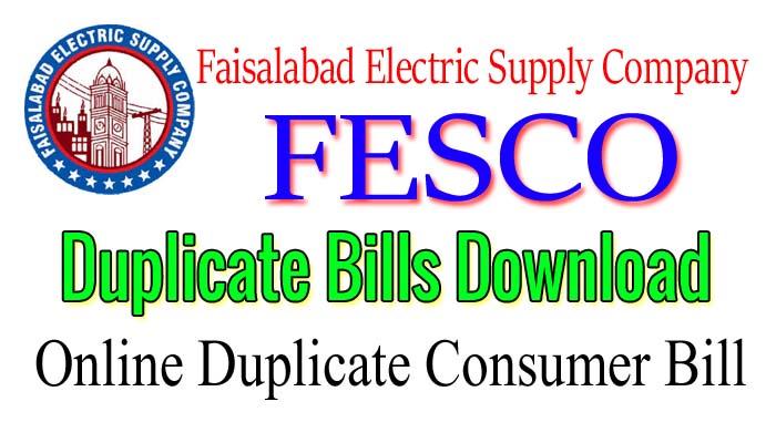 faisalabad electric duplicate fesco billl download online