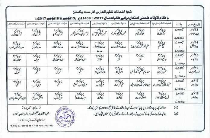 tanzeel ul madaris girls date sheet 2018