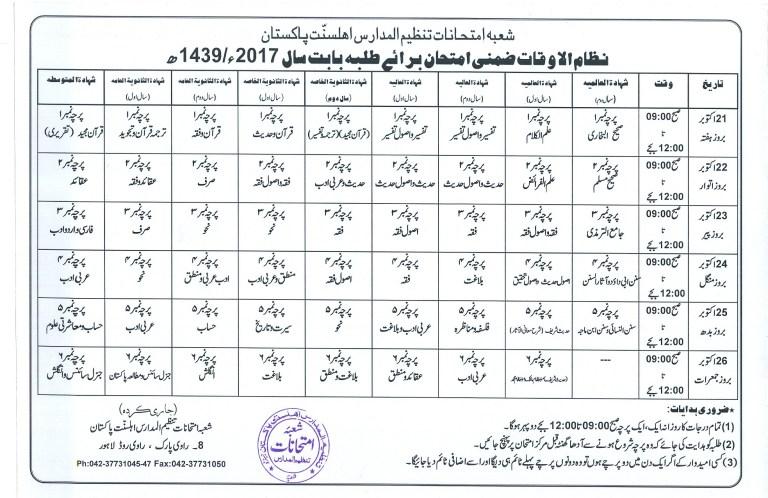 tanzeel ul madaris supplymentry date sheet 2018