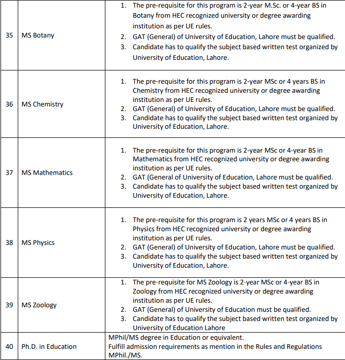 university of education lahore eligiblity criteria