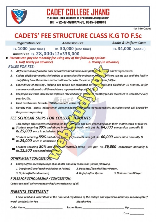 cadet college jhang fee structure
