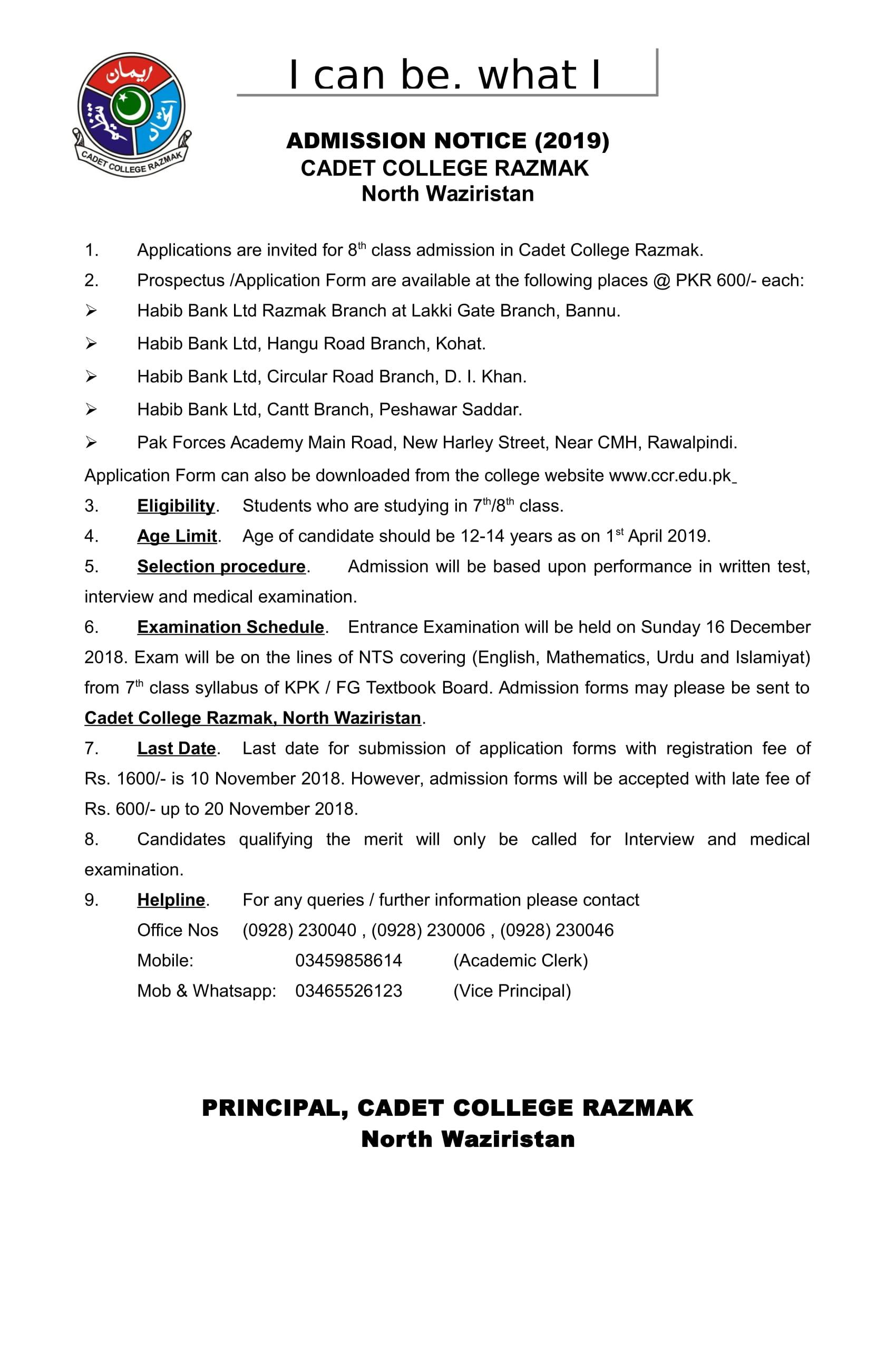 Cadet-College-Razmak admission notice 2019