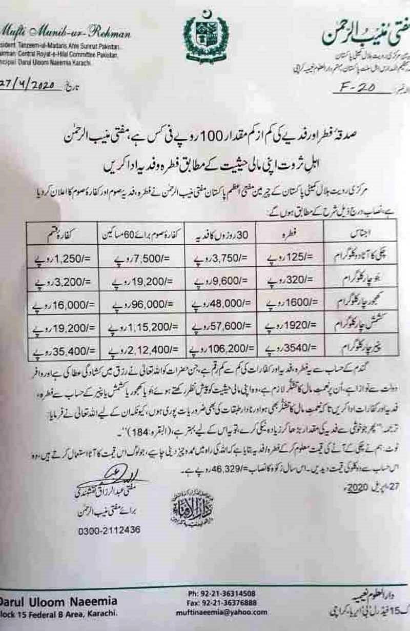 Eid Ul Fitar Fitrana Price 2020 Fixed By Mufti Muneeb Ur Rehman