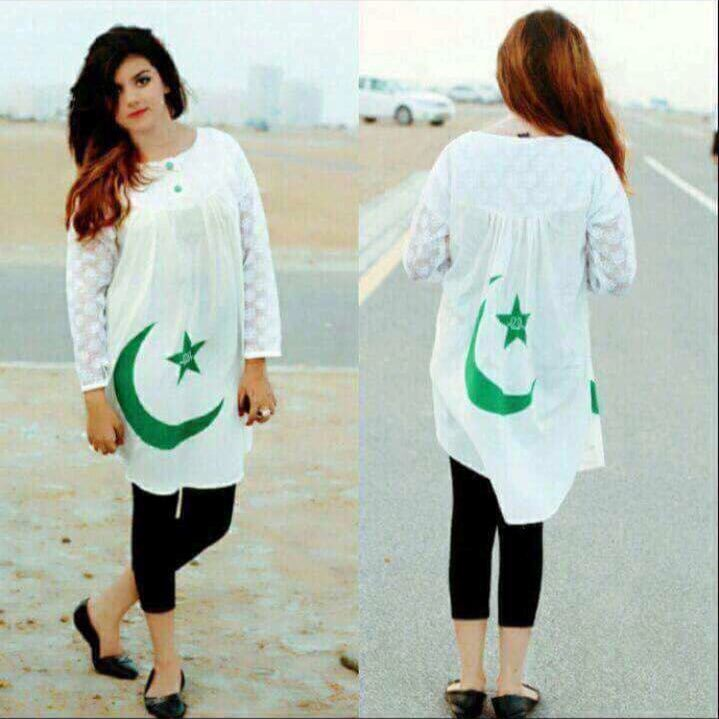 independence day of pakistan shirts for girls