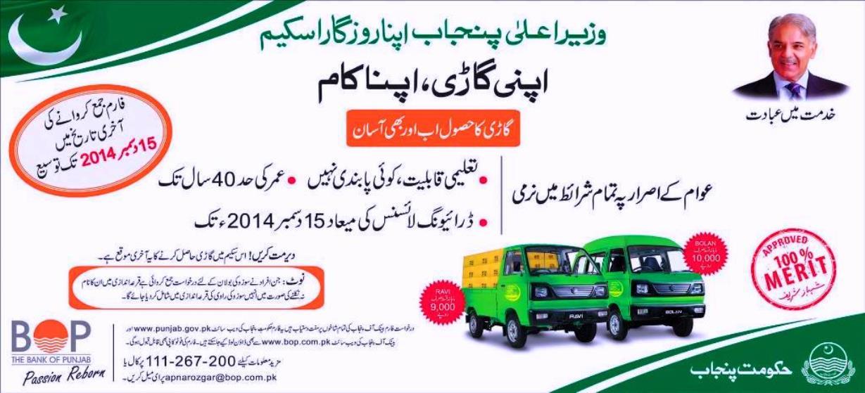 CM Punjab Apna Rozgar Scheme application Form